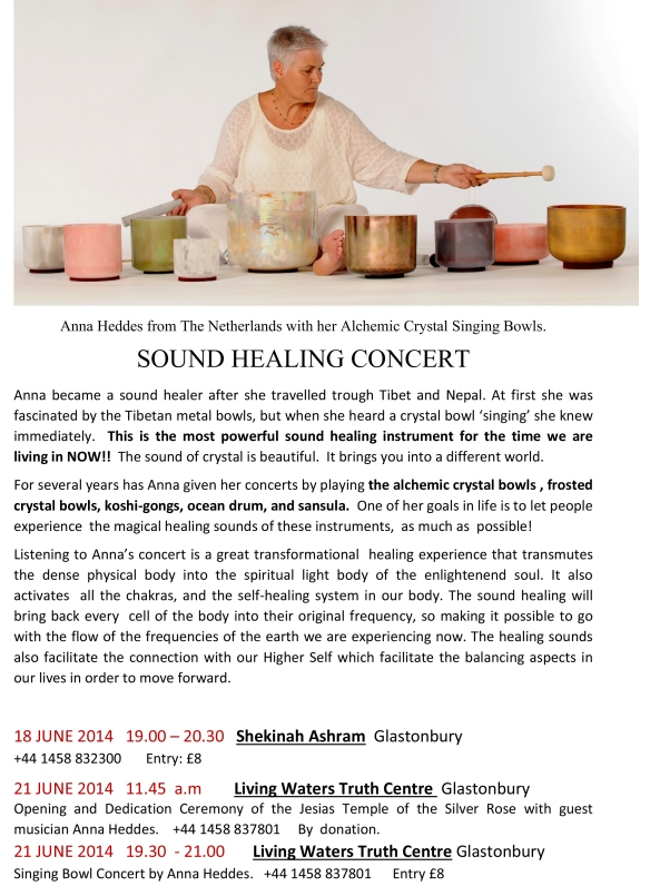 A Crystal Singing Bowl Healing Concert with Anna Heddes from Holland and her Alchemic Crystal Bowls, Ocean Drum and Koshi Gongs.