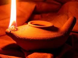 Essene Lit Oil Lamp